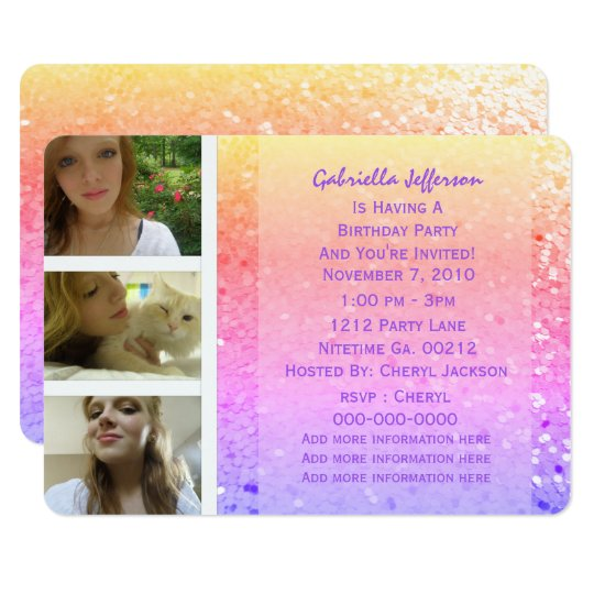 Add Your Pictures: Rainbow Glitter Invitation