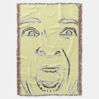 Add Your Scared Screaming Face Funny Throw Blanket