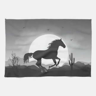Add Your Text Horse in Black and White Silhouette Tea Towel