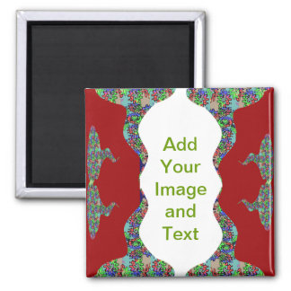 Add your text - Oriental Kiss my Lips Design Square Magnet