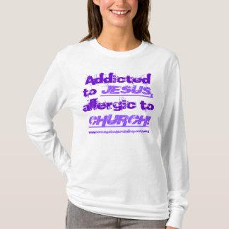 Addicted to Jesus in 2-tone purple on light shirt