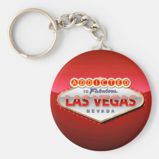 Addicted to Las Vegas, Nevada Funny Sign Basic Round Button Key Ring
