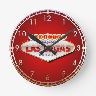 Addicted to Las Vegas, Nevada Funny Sign Round Clock