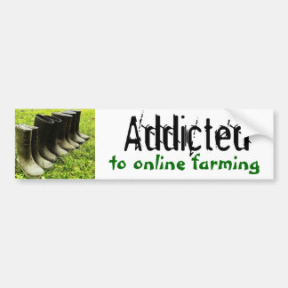 Addicted to Online Farming Family Gumboots Bumper Sticker