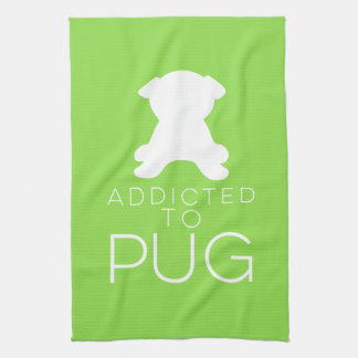 Addicted To Pug White Silhouette Dish Towel