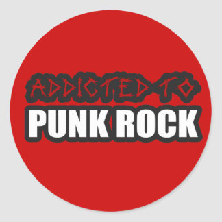 addicted to punk rock music guys girls round sticker