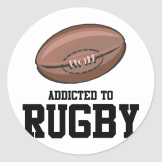 Addicted To Rugby Classic Round Sticker