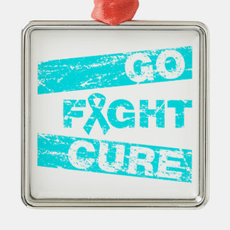 Addiction Recovery Go Fight Cure Silver-Colored Square Decoration