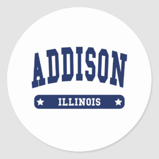 Addison Illinois College Style t shirts Classic Round Sticker