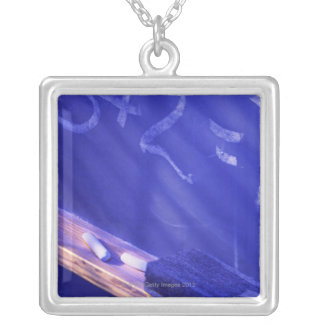 Addition on elementary school chalkboard silver plated necklace