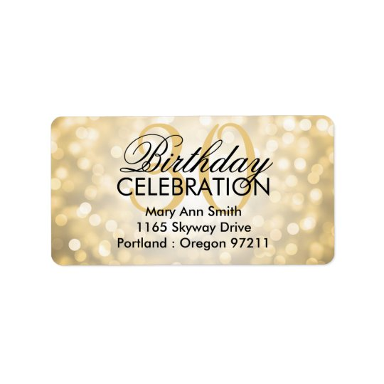 Address 30th Birthday Party Gold Glitter Lights Label