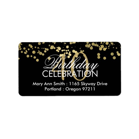 Address 40th Birthday Gold Foil Confetti Label