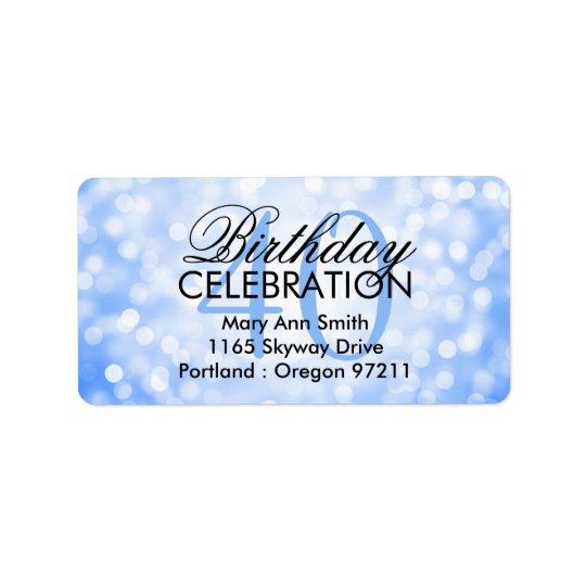 Address 40th Birthday Party Blue Glitter Lights Address Label