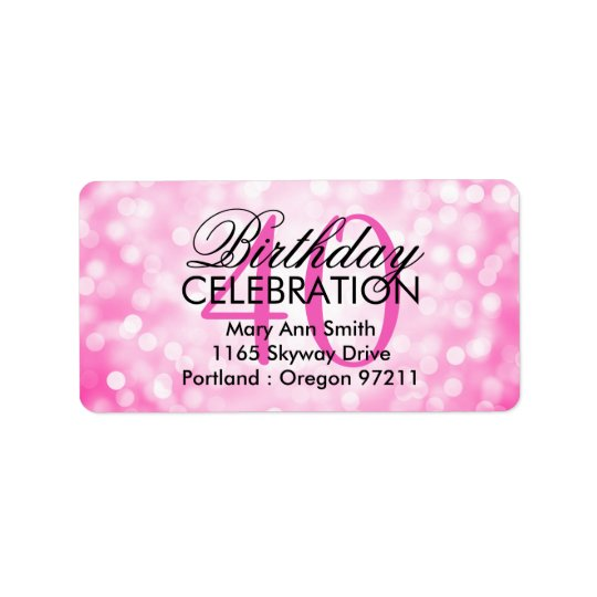 Address 40th Birthday Party Pink Glitter Lights Address