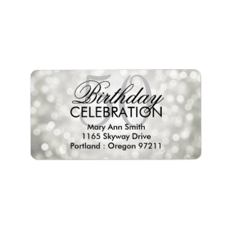 Address 50th Birthday Party Silver Glitter Lights Label