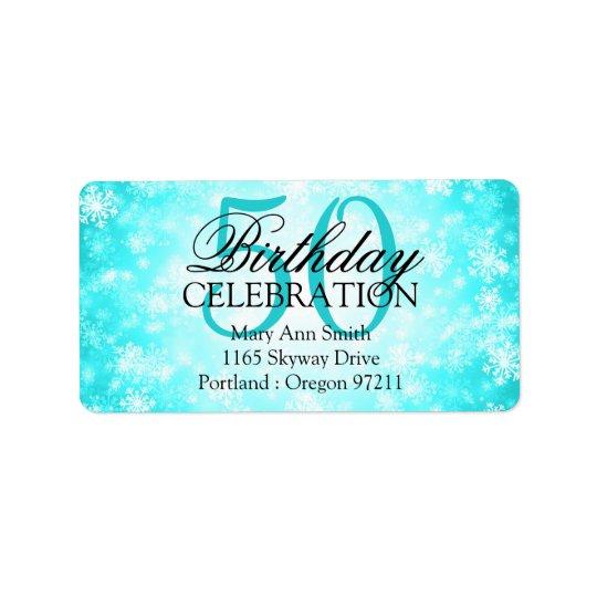 Address 50th Turquoise Winter Wonderland Address Label