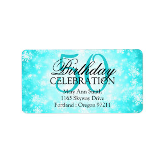 Address 50th Turquoise Winter Wonderland Label