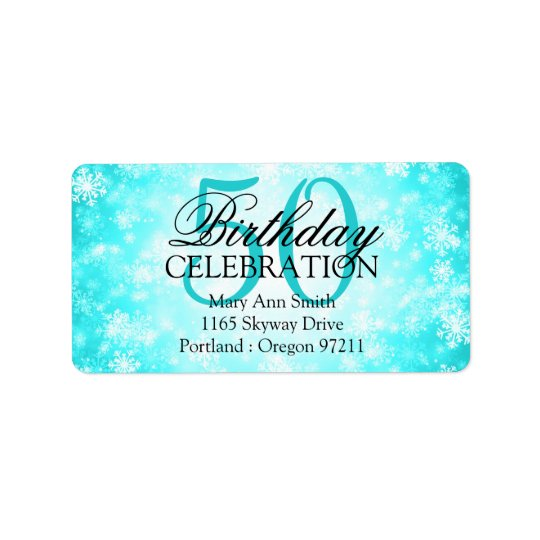 Address 50th Turquoise Winter Wonderland Label
