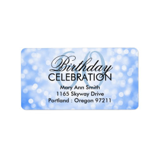 Address 60th Birthday Party Blue Glitter Lights Label