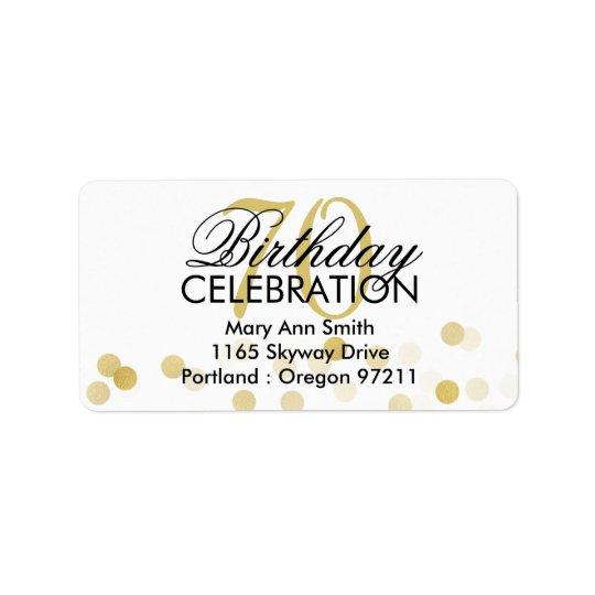 Address 70th Birthday Gold Foil Glitter Lights Label