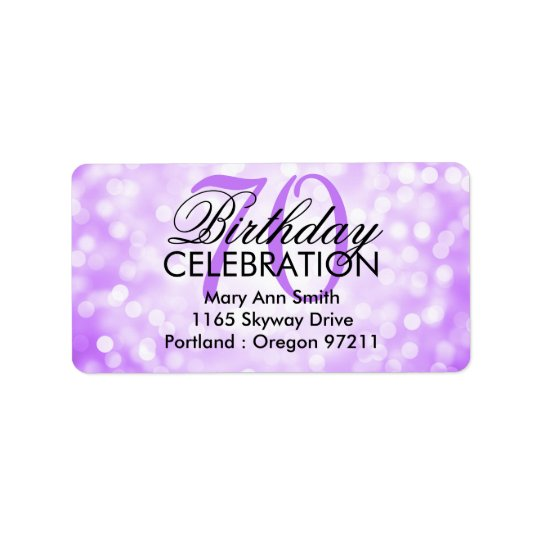 Address 70th Birthday Party Purple Glitter Lights Address Label