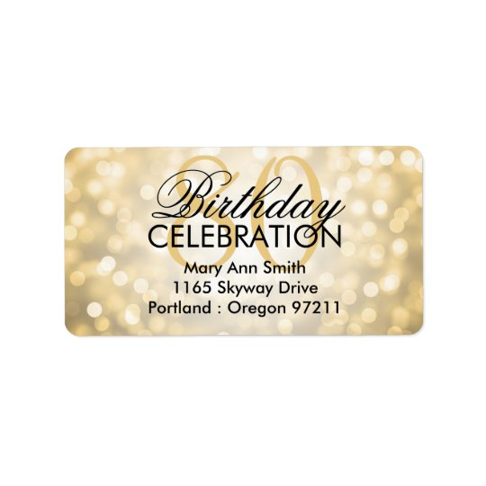 Address 80th Birthday Party Gold Glitter Lights Label