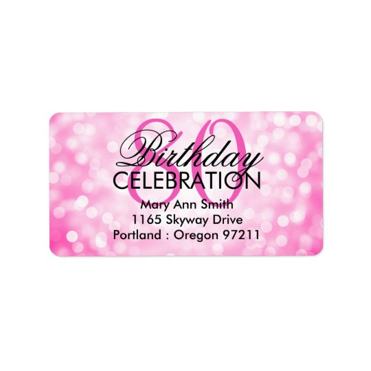 Address 80th Birthday Party Pink Glitter Lights Address Label