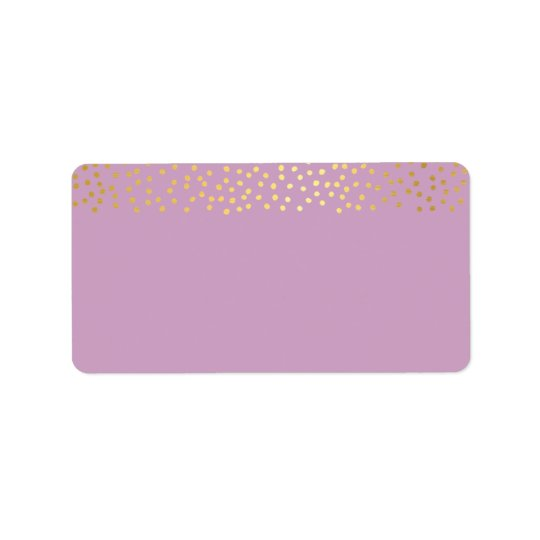 ADDRESS chic rustic faux gold confetti purple Label