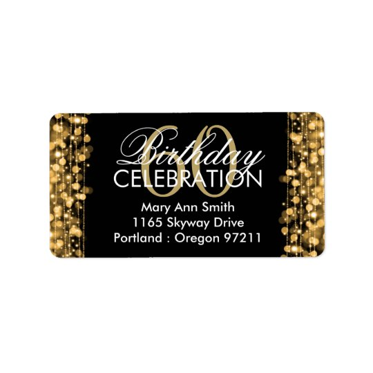 Address Elegant 60th Birthday Party Sparkles Gold Address
