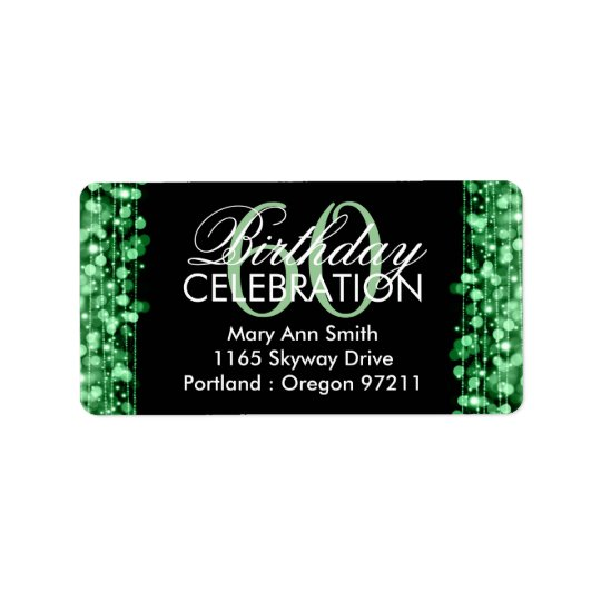 Address Elegant 60th Birthday Party Sparkles Green Label