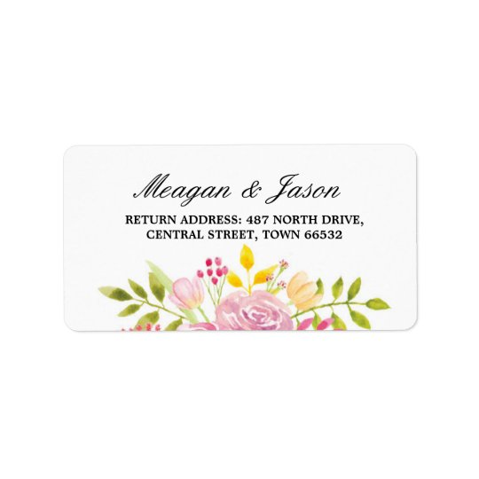 Address Floral Labels Pink Flower Stickers Wedding