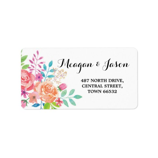 Address Floral Labels Return Stickers Wedding