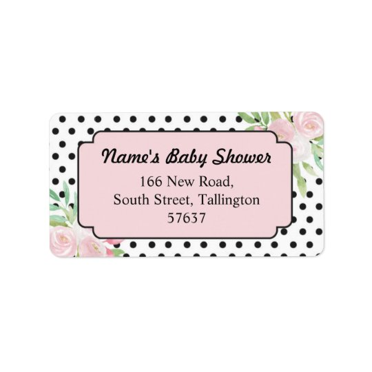 Address Floral Polka Dots Pink Labels Baby Shower