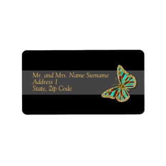 Address gold black butterfly wedding address label