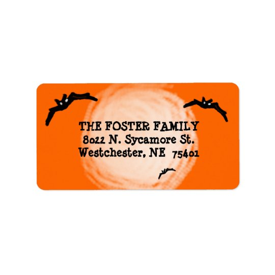 Address Label - Halloween Bats under the Moon