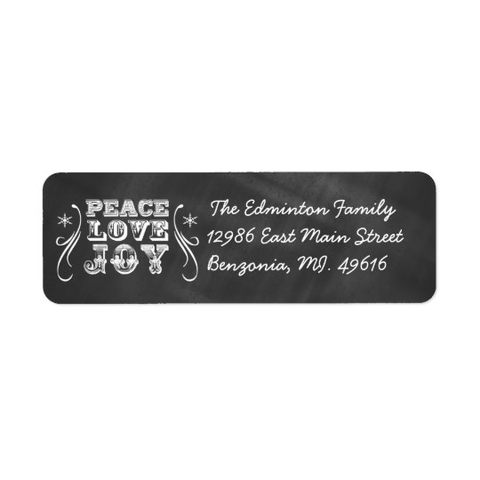 Address Label Peace Love Joy Chalkboard Holiday