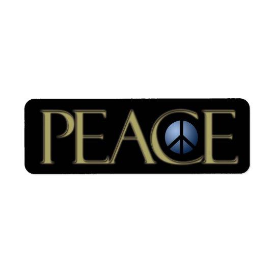 Address Label Peace Sign, Black, Customise