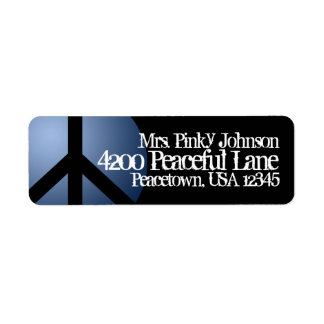 Address Label Peace Sign, Blue, Black, Customize