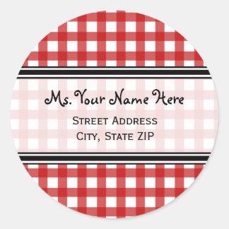 Address Label - Red Gingham Round Sticker