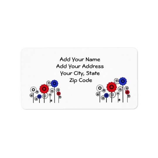 Address Label, red, white & blue Daisies Label