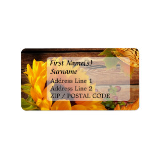 Address Label, Rustic Country Fall Sunflower Address Label