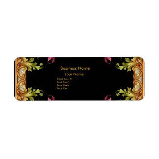 Address Label Vintage Retro black gold pink Floral