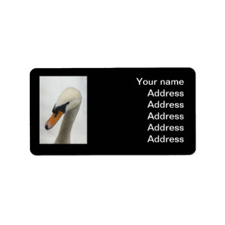 Address Label - White Macro Swan