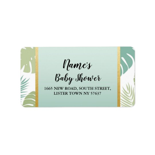 Address Labels Baby Shower Tropical Mint Palm Leaf