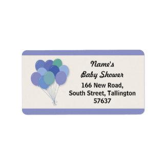 Address Labels BALLOONS Baby Shower Pop Blue Boy