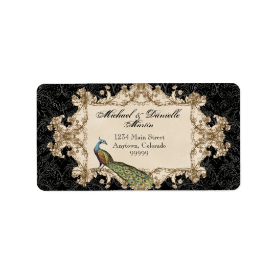 Address Labels - Black Vintage Peacock & Etchings