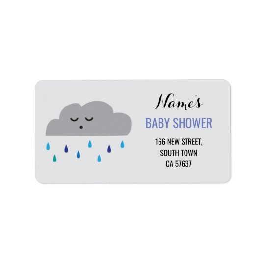 Address Labels Blue Boy Baby Shower Cloud Rain