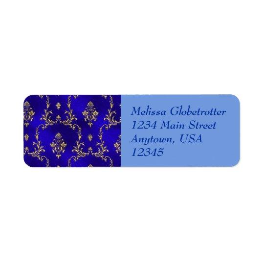 Address Labels--Blue & Gold Return Address Label