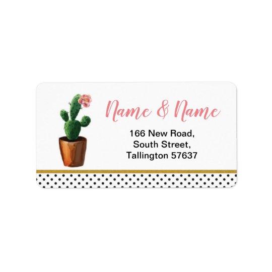 Address Labels Cactus Polka Dot Gold Pretty