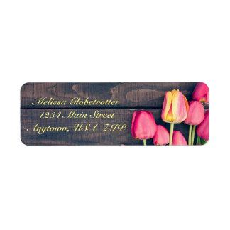 Address Labels--Dark Pink Tulips& Dark Wood